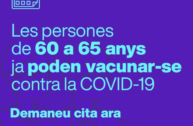Les persones d'entre 60 i 65 anys ja poden demanar hora per vacunar-se contra la COVID-19
