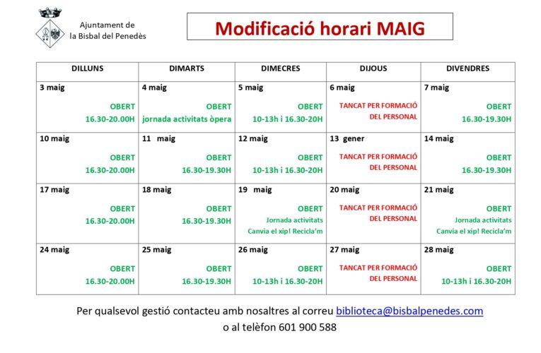 Modificació puntual -al mes de maig- de l'horari de la Biblioteca