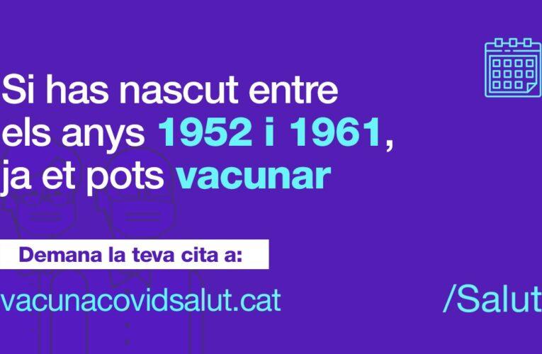 Si vau néixer entre el 1951 i el 1965 ja podeu demanar hora per vacunar-vos contra la COVID-19