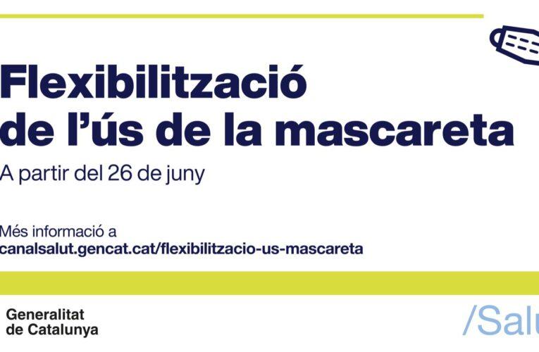 L'obligatorietat de l'ús de la mascareta en exteriors es flexibilitza a partir d'avui dissabte 26 de juny