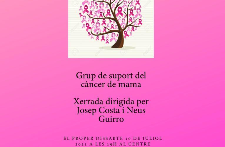 El dissabte 10 de juliol a les 19h tindrà lloc una xerrada sobre el càncer de mama al CMC organitzada des de l'Associació de dones La Roca Foradada