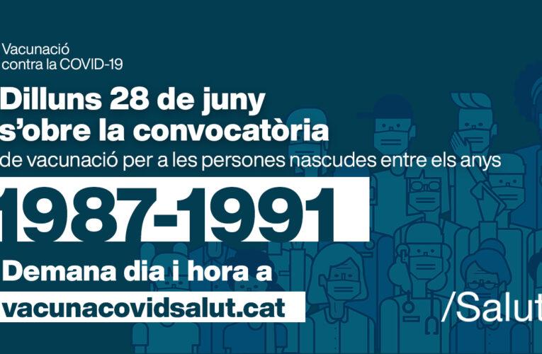El dilluns 28 s'obre la convocatòria de vacunació per a les persones nascudes entre el 1987 i el 1991