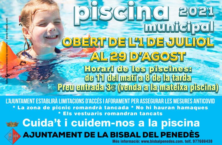 La piscina municipal obrirà avui dijous 1 de juliol i estarà oberta fins al 29 d'agost