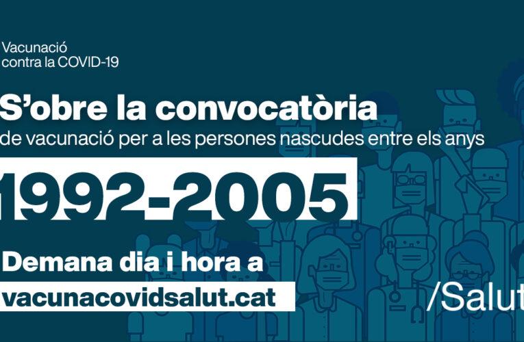 Les persones nascudes entre 1992 i 2005 es podran començar a vacunar el 6 de juliol