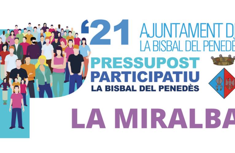 Els veïns i les veïnes de La Miralba podreu votar les propostes del Pressupost Participatiu aquest diumenge al davant del local social o durant la setmana vinent a l'Ajuntament