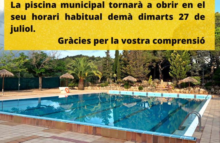 La piscina municipal tornarà a obrir aquest dimarts 27 de juliol