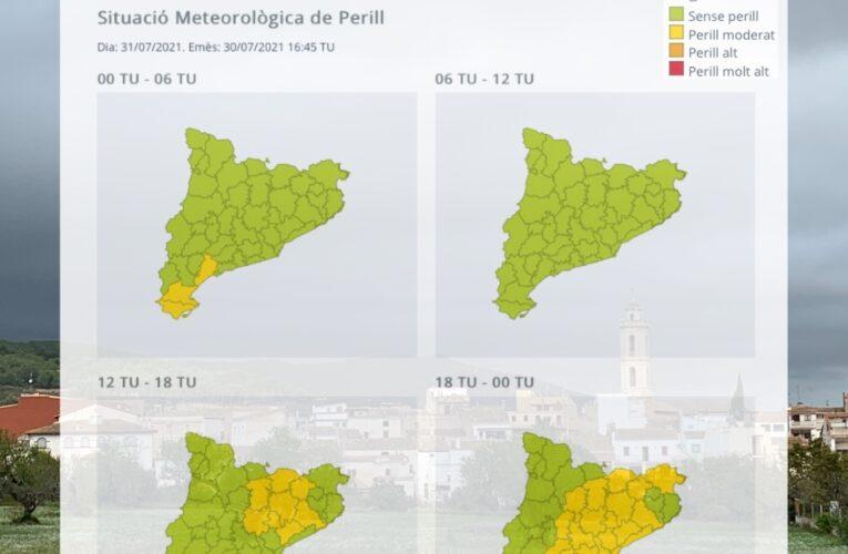 Avís per intensitat de pluja per al dissabte 31 de juliol