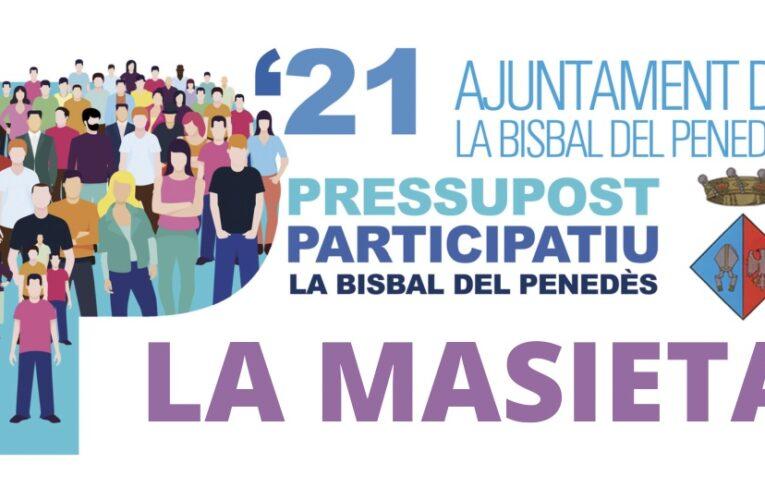 Els veïns de La Masieta podreu votar les propostes del Pressupost Participatiu aquest diumenge al davant del parc infantil o durant la setmana vinent a l'Ajuntament