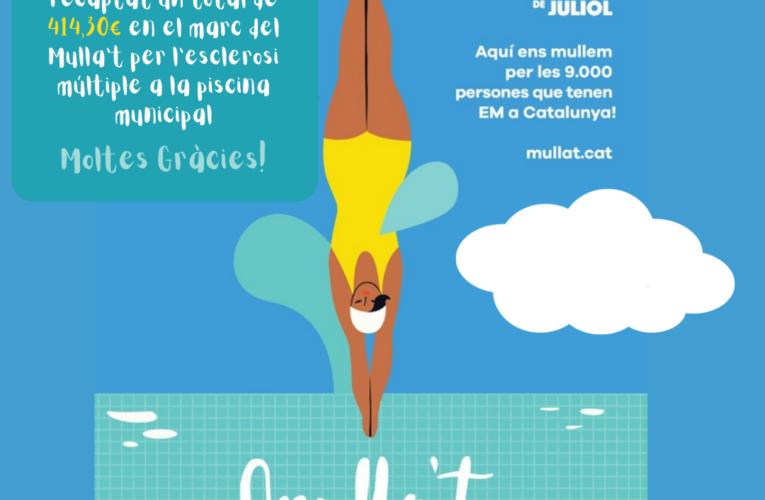 Aquest diumenge s'han recaptat 414,30€ a la piscina municipal en el marc del 'Mulla't per l'Esclerosi Múltiple'