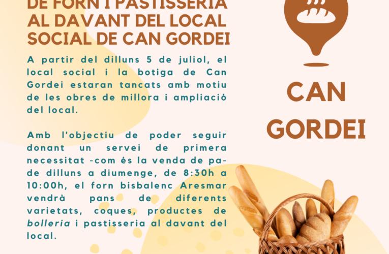 Servei diari de venda de pa a Can Gordei a partir del dilluns 5 de juliol