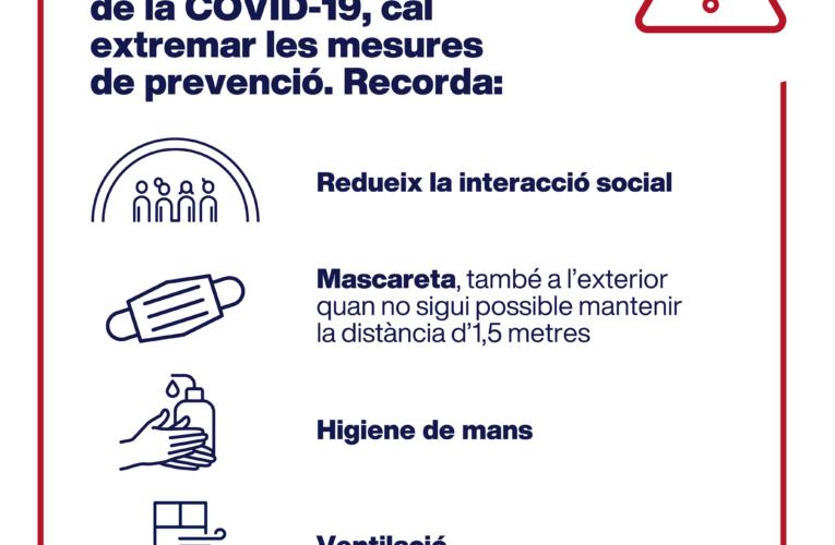 """Departament de Salut de la Generalitat: """"recordem que és important extremar les mesures de prevenció"""""""