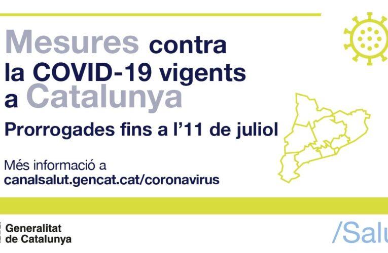 Les mesures per a la contenció de la COVID-19 que estaven vigents des del 21 de juny s'han prorrogat fins a l'11 de juliol