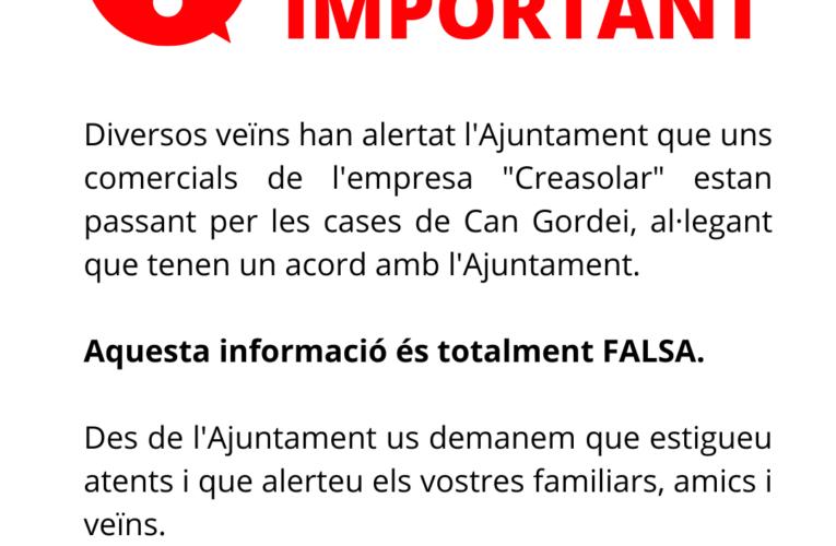 Una empresa està passant per les cases de Can Gordei dient que ve de part de l'Ajuntament i aquesta informació és falsa
