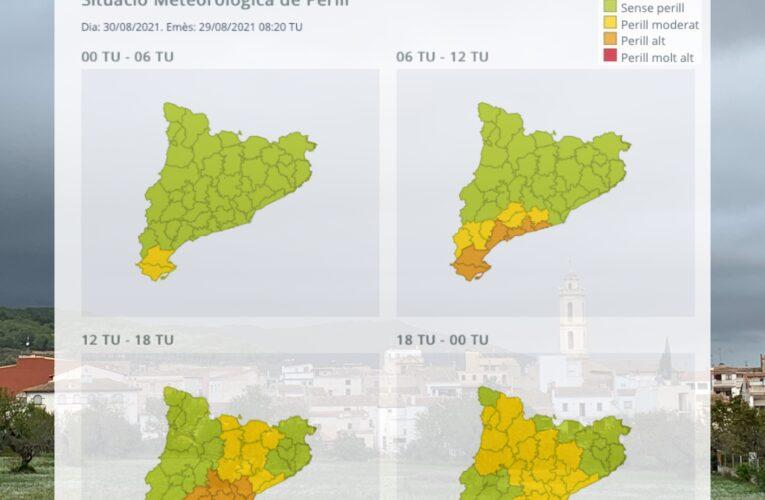 Avís per intensitat i acumulació de pluja per al dilluns 30 d'agost