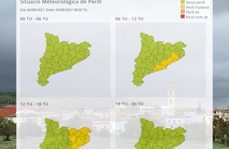 S'ha publicat un avís per intensitat de pluja per al dimecres 4 d'agost