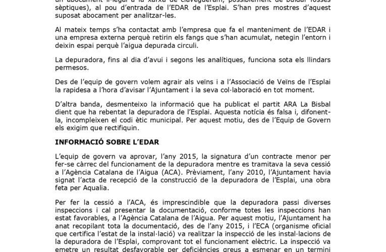 Comunicat d'Alcaldia sobre la incidència detectada avui dimecres 25 d'agost relacionada amb la xarxa de clavegueram de l'Esplai