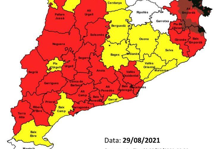 Avui diumenge 29 d'agost hi ha un elevat risc d'incendi – Extremeu les precaucions