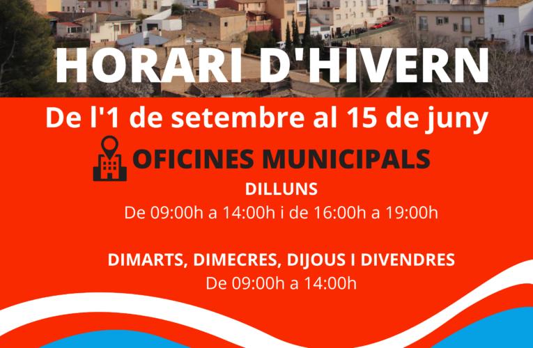 El dimecres 1 de setembre comença l'horari d'hivern de l'Ajuntament i la Biblioteca