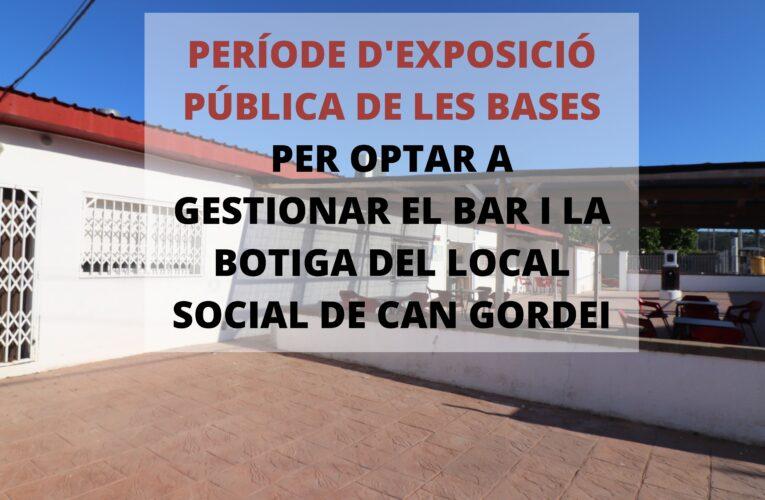 De l'1 al 28 de setembre s'exposen al públic les bases per poder convocar el concurs del servei de bar i botiga del local social de Can Gordei