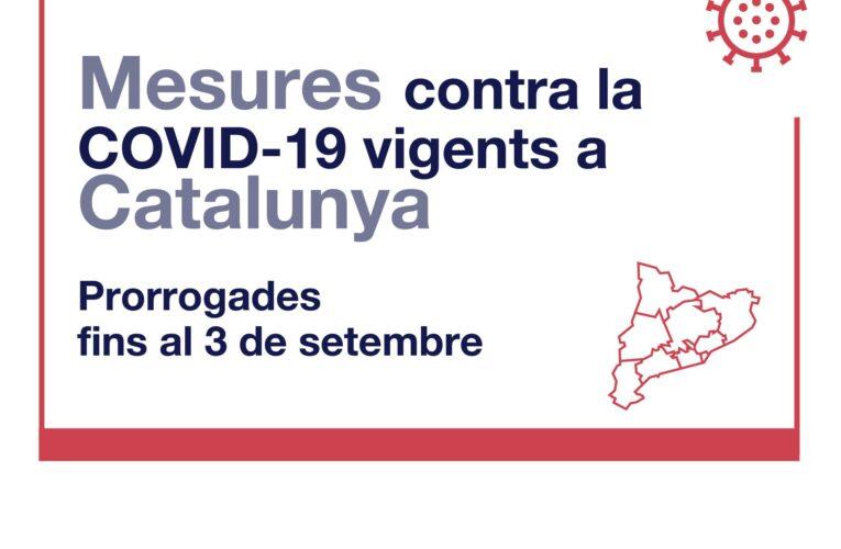 Es prorroguen les mesures contra la COVID-19 fins al 3 de setembre