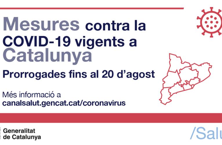 Es prorroguen les mesures vigents per la COVID-19 fins al 20 d'agost