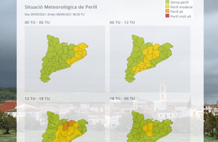 El Servei Meteorològic de Catalunya ha publicat un avís per intensitat de pluja per al dijous 9 de setembre