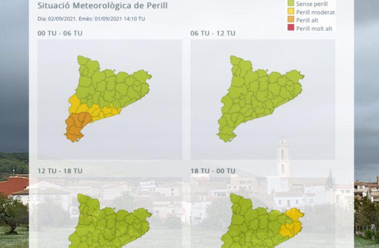 Avís per intensitat de pluja per a la matinada del 2 de setembre
