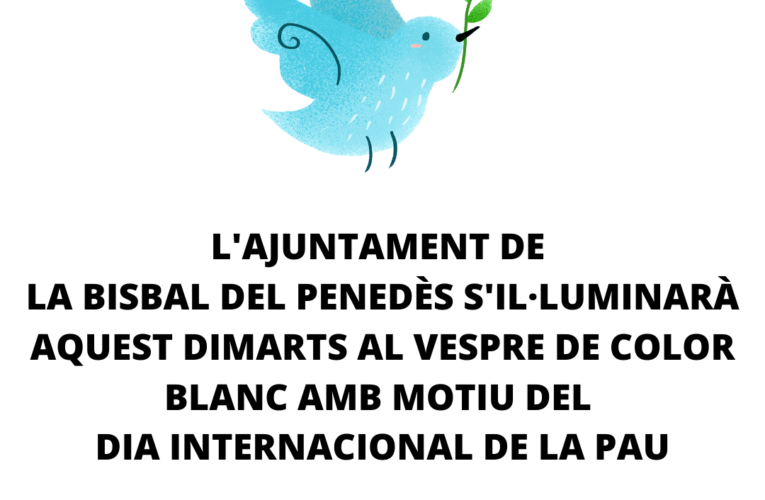 Aquest dimarts l'Ajuntament s'il·luminarà amb llum blanca amb motiu del Dia Internacional de la Pau