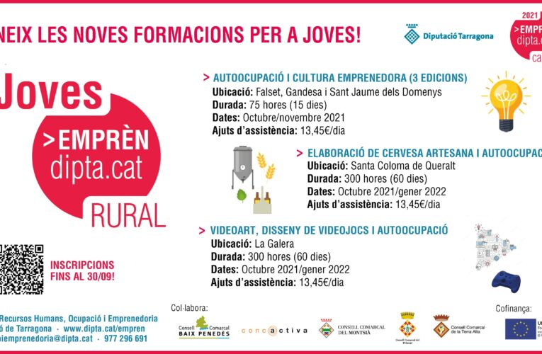 La Diputació de Tarragona impulsa tres formacions adreçades a joves inscrits al programa de Garantia Juvenil