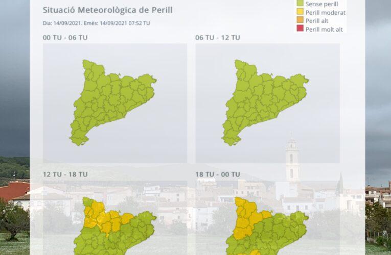 Avís per pluja per dimarts 14 a la tarda-nit i la matinada de dimecres 15 de setembre