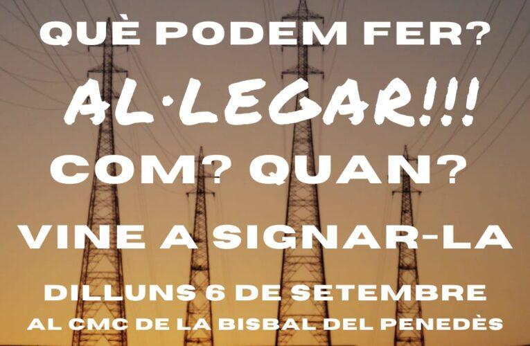 La Plataforma NO A LA MAT recollirà signatures contra la línia de Molt Alta Tensió el dilluns 6 de setembre al CMC de la Bisbal del Penedès