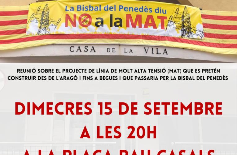 El dimecres 15 de setembre a les 20h es farà una reunió informativa sobre el projecte MAT a la plaça Pau Casals (la pista)