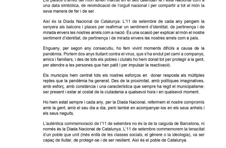 L'Ajuntament de la Bisbal del Penedès s'adhereix al Manifest de la Diada Nacional de Catalunya de l'Associació Catalana de Municipis